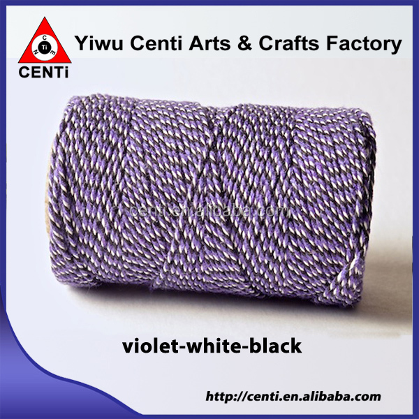Quality violet white and black tri coloured original cotton bakers twine