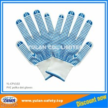 PVC polka dot Nylon/Polyester gloves oem color