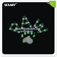 Green and clear rhinestone Letter paw and print Bling Crystal Rhinestone Transfer designs for Garment