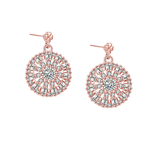 FZ4-S15B rose gold plating 925 sterling silver stud earring with white AAA quality stones