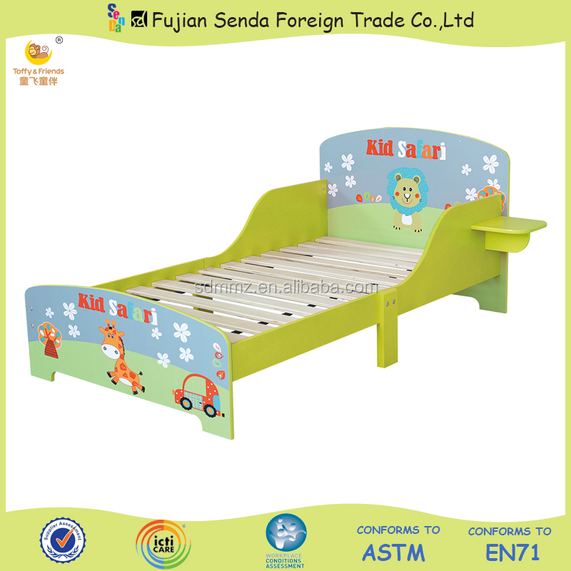 Wooden Kid Toddler Bed With Bedside Board Children Bed