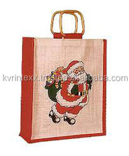 Dual Tone Jute Shopping Bag with Bamboo Handle