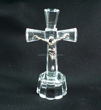 Wholesale clear crystal cross for religion gifts, jesus on the cross figurines