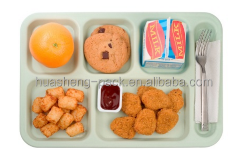 disposable biodegradable bamboo fibers lunch tray with 6 compartment