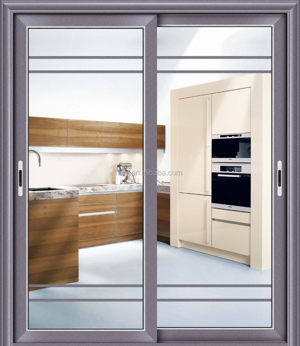 Insulated tempered aluminum alloy framed swing interior frosted glass bathroom door