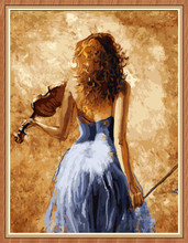 GX8064- 40*50 beautiful girl and violin oil painting by numbers for decor music room