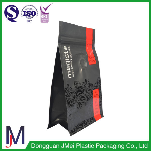 Compound plastic 4 sides packaging ground coffee bags box flat bottom pouch with zip sealer valve