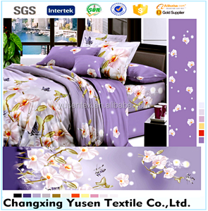 100% polyester printed brushed bed sheets mattress fabric for bedding/home textile from China