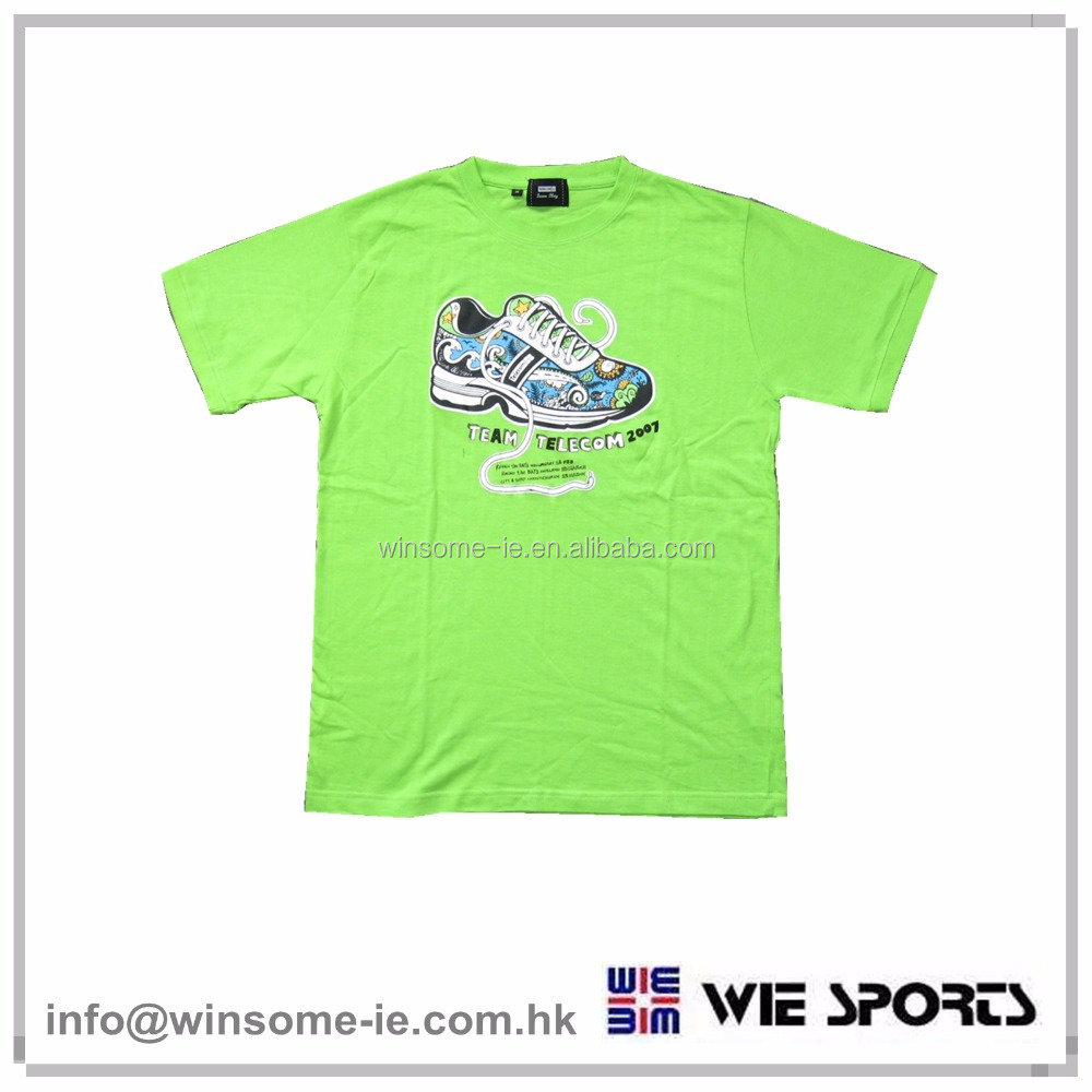 Promotional cotton short sleeve lime marathon T-shirt