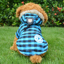 High quality handsome lapel plaid dog cat hoody winter clothes for europe