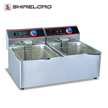 Professional Electric Ventless Fryer Counter Top Double Basket Electric Deep Fryer Kitchen Equipment