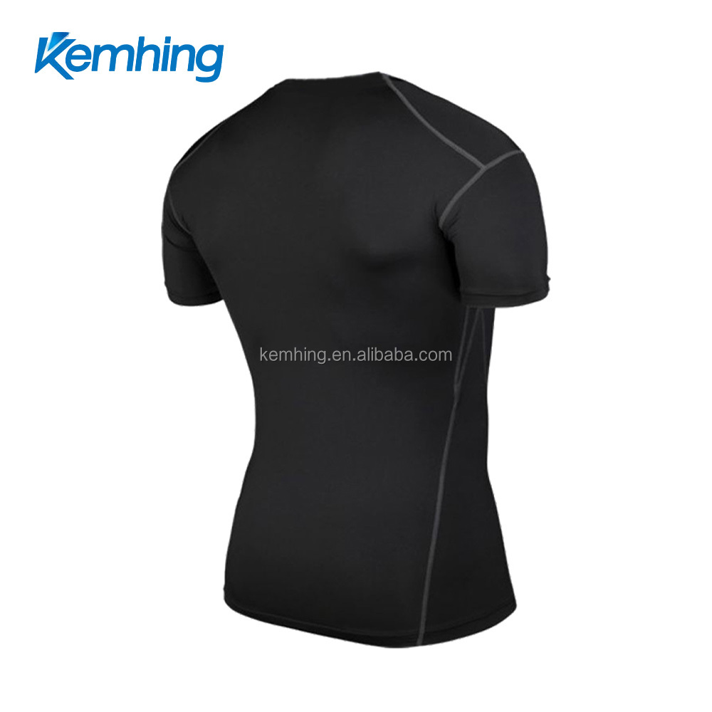 2018 High quality black mens quick dry fitness compression t-shirt