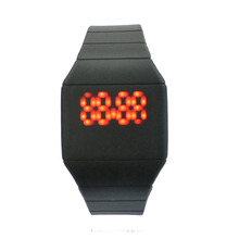 Customozed Logo OEM Silicone band Watch Red LED Digital watches for Men Women Sport Cuff Wrist Watches