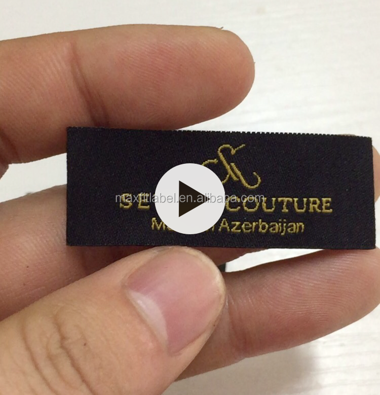2017 customized high density damask woven labels for garments