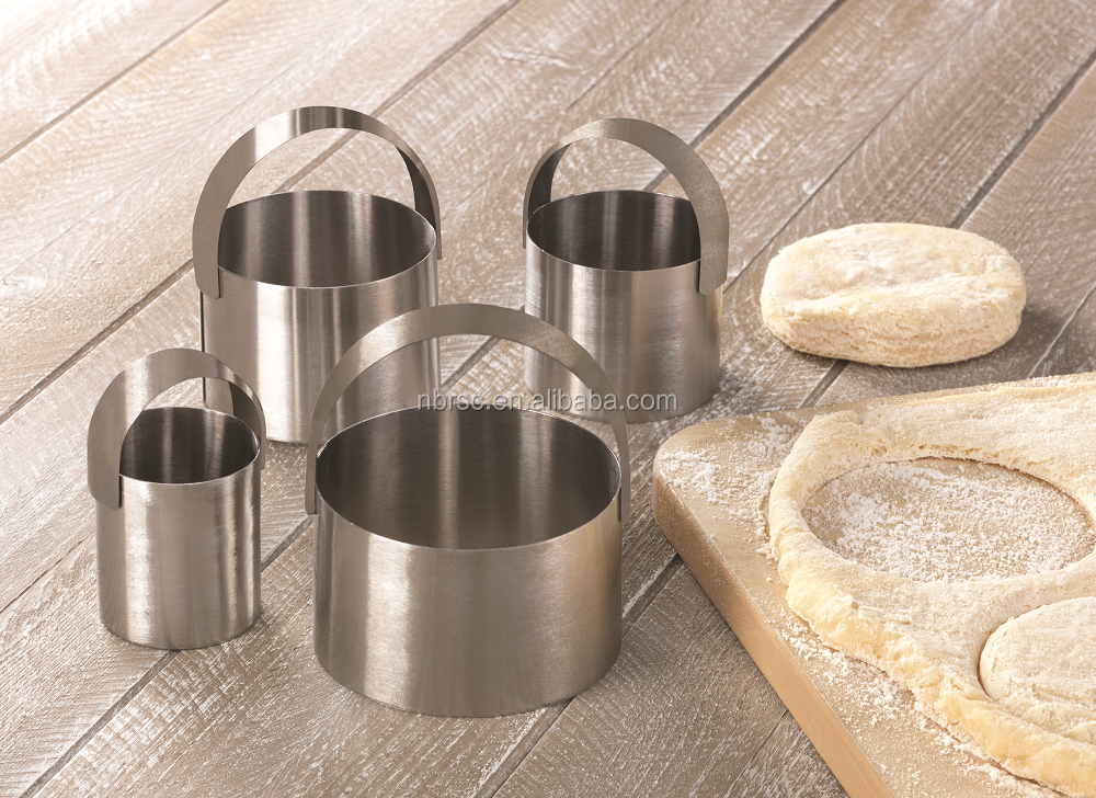 Mental cookie cutter 4 PCS Stainless Steel Circle Shape Biscuit and Cookie Cutters with Handle cutter set