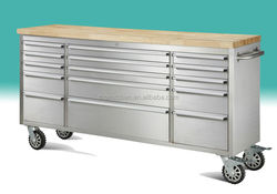 "72"" stainless steel tool chest rolling cabinet with wooden top & casters"