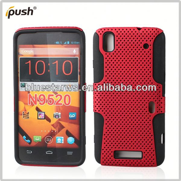 2014 high quality double case for mobile phones for zte max n9520 mesh combo case