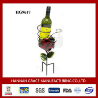 Metal Wine Bottle and Glass Holder Outdoor Drinks Holder