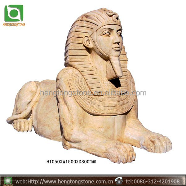 Egyptian Large Yellow Marble Sphinx Statue