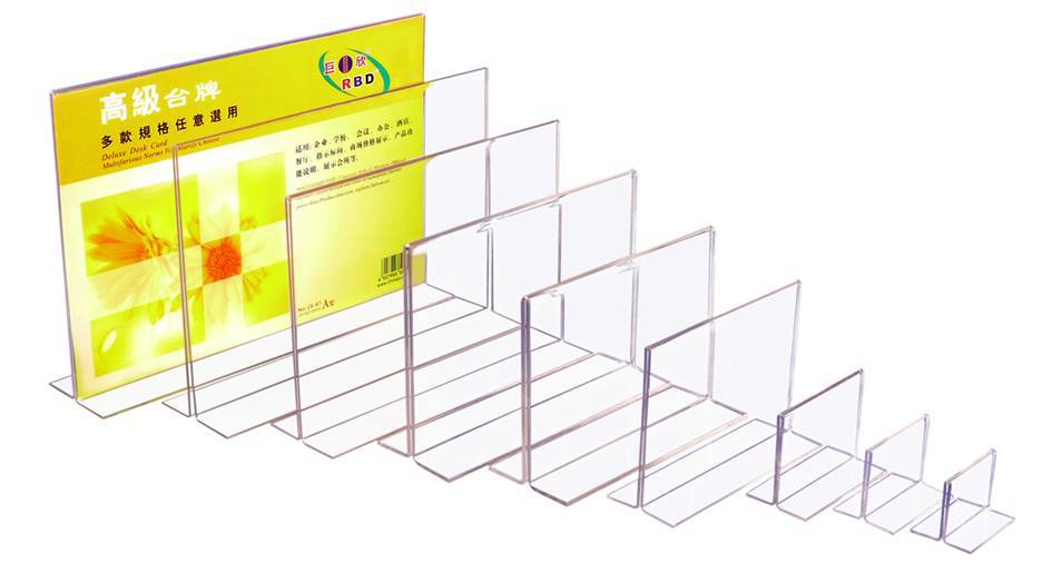 CUSTOMIZE ACRYLIC DISPLAY ,T sharp table acrylic sign holder