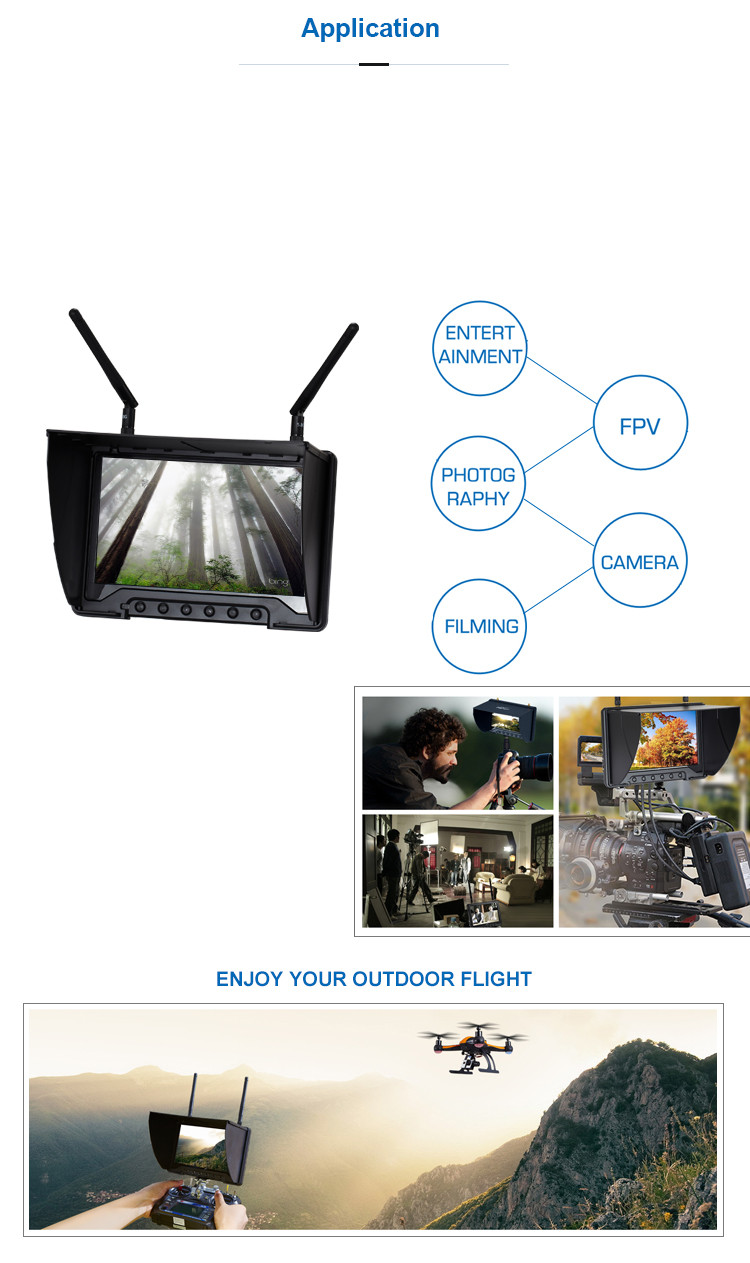 32CH 7 Inch FPV high definition monitor without blue screen