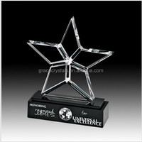 Star design engraving personalized crystal prize