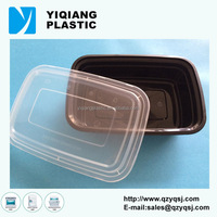 Black eco friendly food cheap plastic takeout containers with lids