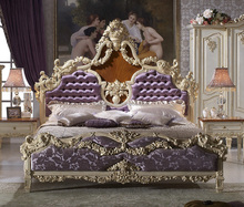 Solid Beech Wood Hand Carved Royal Rococo Bedroom Furniture, Anqitue Baroque Bed Room Set, French Bedroom Furniture