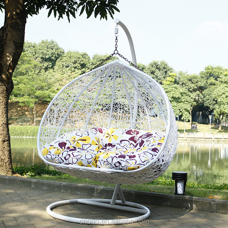 Luxury Outdoor Furniture Double Seat Swing Rattan Egg Chair Living Room Swing Chair