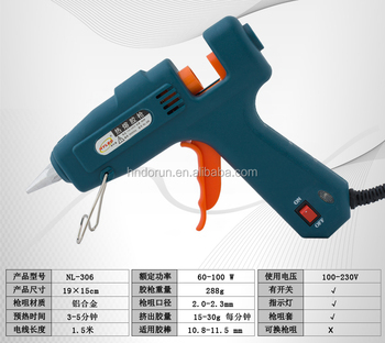 hot melt glue gun 60W -100W with switch indicator and protective silicone