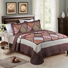 King Size Bedding Collections Soft Brown Floral Patchwork Bedsheets Set