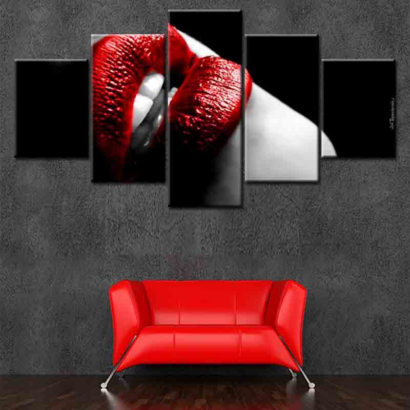 Red lips Sex Pictures 5-Panel Canvas Art Designs Printed Giclee Printing