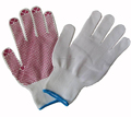 Natural white cotton dotted glove
