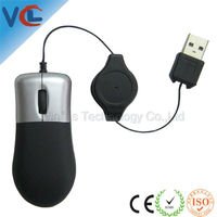 free sample Mini Optical USB cord Retractable Thumb Black Mouse