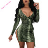 Sexy Women's Green Long Sleeve Snakeskin Print Mini Club Dresses