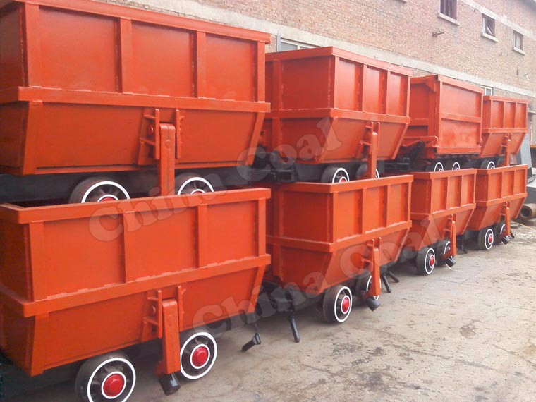 High Quality !! Single-side Curved Rail Dumping Mine Ore Carts for Sale