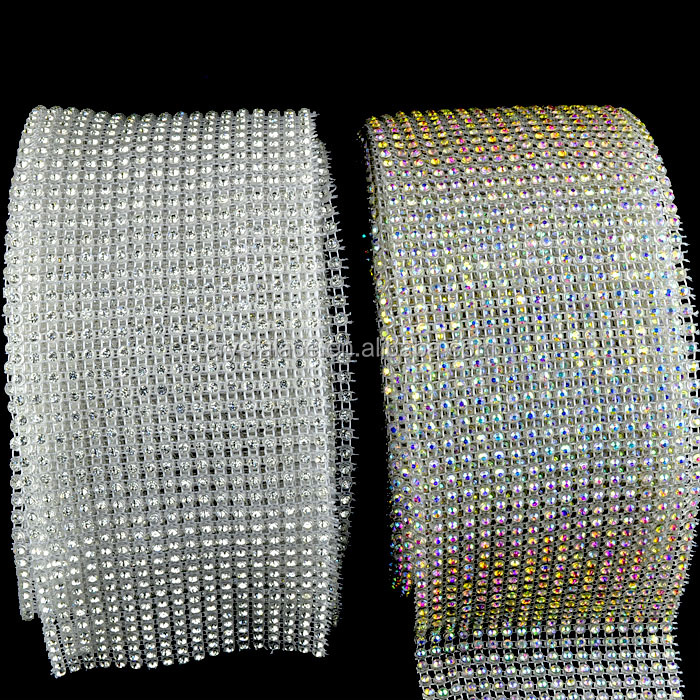 Stock available clear crystal and clear AB stretch rhinestone trimming roll, cristal mesh banding for decoration