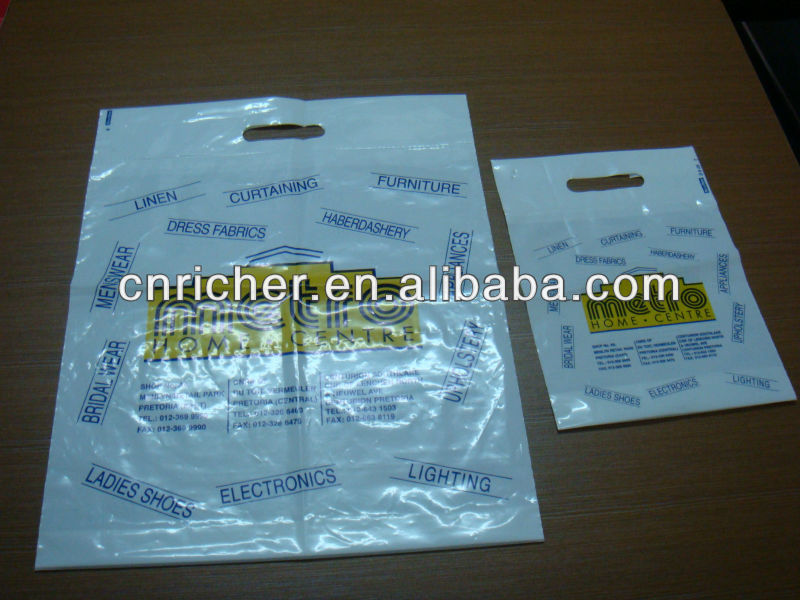 Polyethylene die cut / punch handle square bottom bags with print