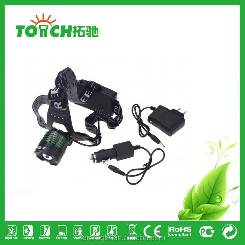 Headlamp 10W 3 Modes High/Middle /Low Head Lamp T6 LED Headlight with AC charger