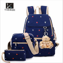 3Pcs backpack suit bags/canvas 3pcs canvas school backpack/backpack with bear pendent