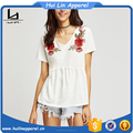 new designer clothes china short sleeve v neck embroidered ruffle seam t shirt for women casual