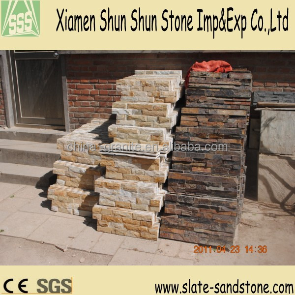 Yellow Culture Slate /stone veneer for Wall Cladding