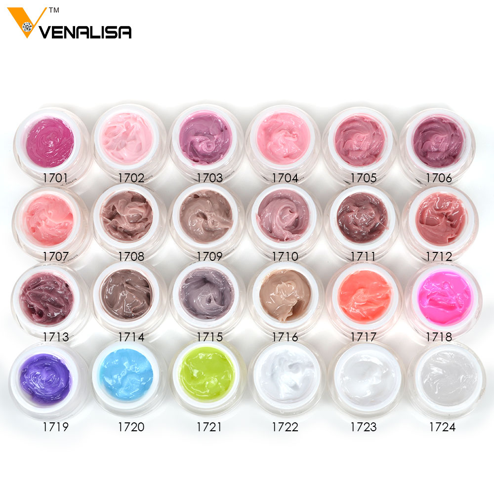 820X VENALISA Wholesale 1kg Raw Material Nail Extending Gel French Nail Tips 24 Colors Camouflage UV LED Builder Hard Jelly Gel