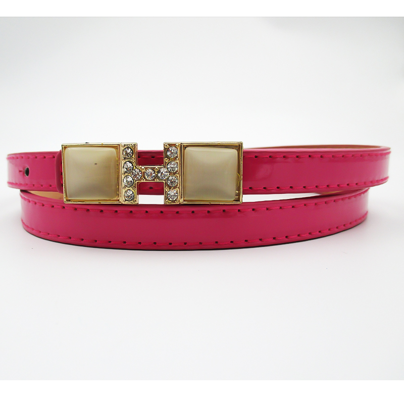 colorful ladies' simple skinny pu belt with rhinstone buckle fashion belt for dressing