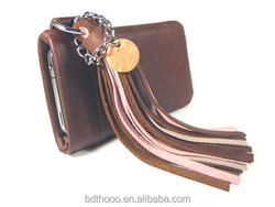 Personalized Vintage Leather Bag,Leather Tassel bag for apple phone customized mobile phone bag