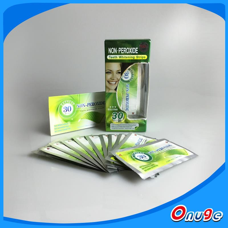 Onuge home use non peroxide teeth whitening strips Europe market