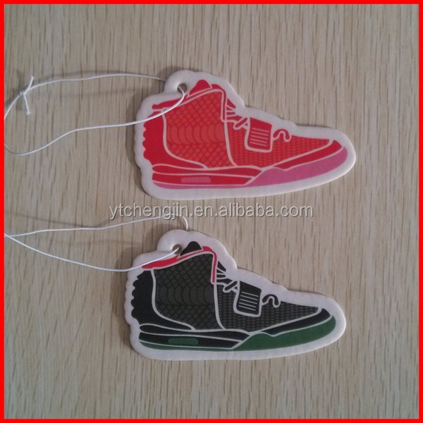 Yeezy black and red sneaker shaped air freshner for cars