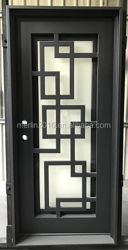 wrought iron square top entrance door grill desin with glass