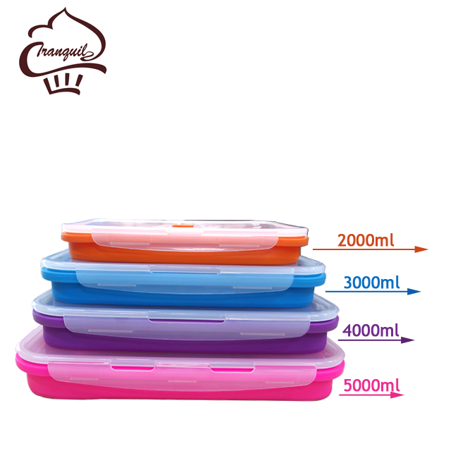 BPA-Free Silicone Lunch Containers,4 Pack Collapsible Food Storage Containers,Large Size(2000ML , 3000ML , 4000ML , 5000ML)