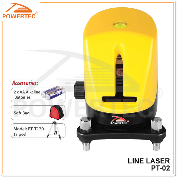 POWERTEC 2 line laser level 635nm,Multi Line Laser Level, Auto Leveling Laser